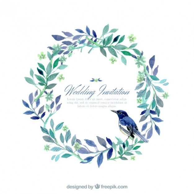 Hand painted wedding invitation in nature style Free Vector