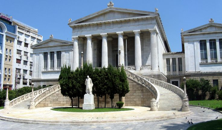 The National Library of Greec is situated near the center of Athens. It was designed by the Danish architect Theophil Freiherr von Hansen, as part of his famous Trilogy of neo-classical buildings including the Academy of Athens and the original building of the Athens University. It was founded by Ioannis Kapodistrias.