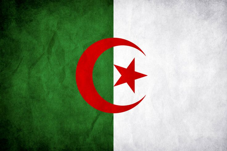 Algeria's flag is comprised of green, symbolizing the beauty of nature, white, symbolizing peace, and red in remeberance of the blood shed by those who fought for Algeria's independence in the Algerian war (1954 to 1952).  The star and crescent represent Islam, the religion of 99% of Algerian citizens.