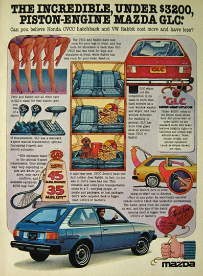 An ad for the Incredible Under $3,200 Mazda GLC ad from 1977.