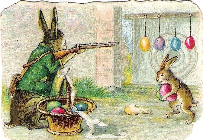 Oblaten Glanzbild scrap die cut chromo Ostern easter Hase Ei egg humanisiert