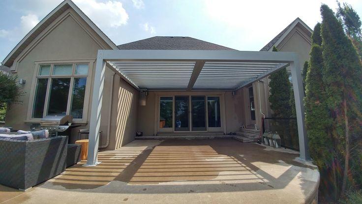 Moder Pergola with Opening & Closing Roof System. #aluminumpergola #pergola #pool #pergolas #pergolaideas #backyard #backyards #landscaping #landscapingideas #canada