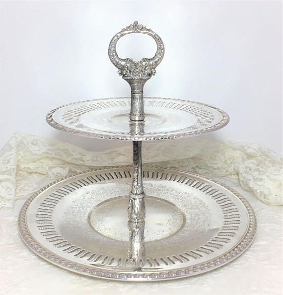 Vintage Fb Rogers Silver On Copper Two Tiered Serving Tray Silver Plated Tiered Serving Tray Tiered Serving Trays Jewelry Stand Vintage