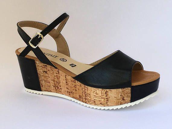 Ladies wedge Sandals leather black kidskin leather and Cork