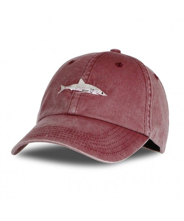 Unisex Baseball Cap By Shark Embroidery Washed Denim Adjustable Cap Winered C7186yd5a73 Baseball Hats Hats For Men Wash Baseball Cap