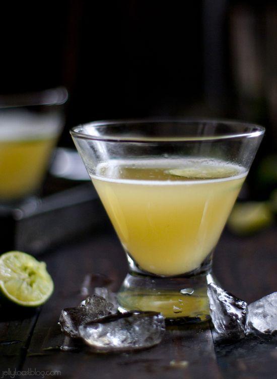 Key Lime Kiss Martini: vodka, triple sec, pineapple juice, key lime simple syrup | Jelly Toast