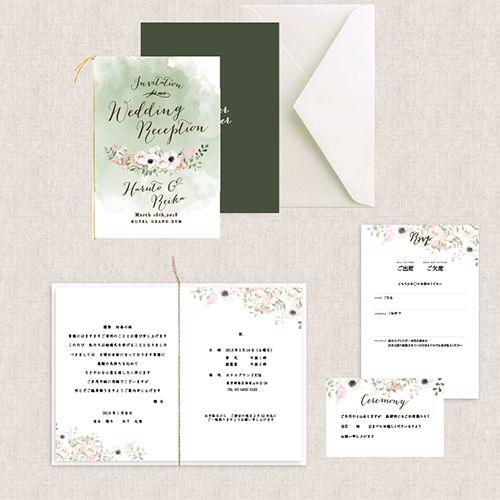結婚式の招待状の準備ならおしゃれなEYMオリジナル招待状を♡ポケットフォルダーやカード型など海外風のおしゃれさはそのままに定番の二つ折りの招待状もご用意しました♡Anemoneは人気デザイナーとのコラボ商品♡柔らかな雰囲気のアネモネのお花とダスティーカラーが落ち着いた印象の大人かわいいデザインです!こちらの招待状はウェディンググッズ通販サイトEYMにて販売中です。