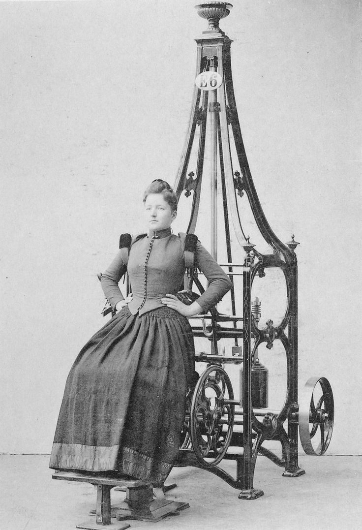 Victorian-era exercise machine; they sure were classy numbers! I'd have this in my house above a white metal monster, as long as it didn't maim me in interesting ways!