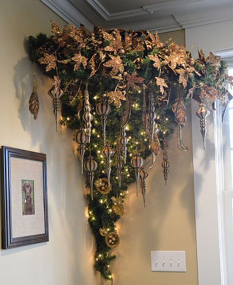 An upside down Christmas tree. This would be cute to do in a corner on the wall :)