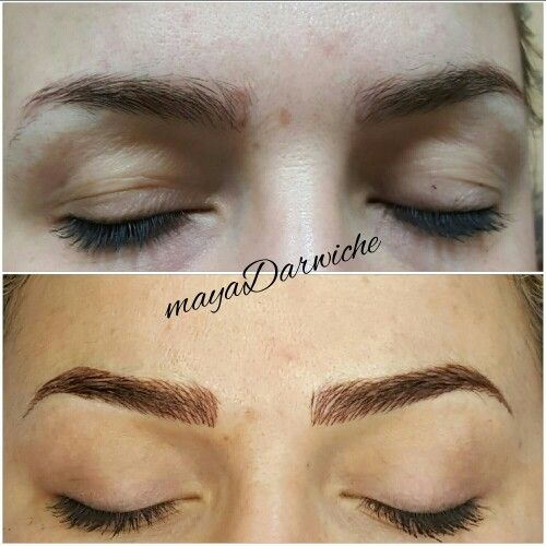 Eyebrow tattoo. 3D eyebrow embroidery otherwise called eyebrow feathering, microblading, hair-stroke tattoo, or micropigmentation.