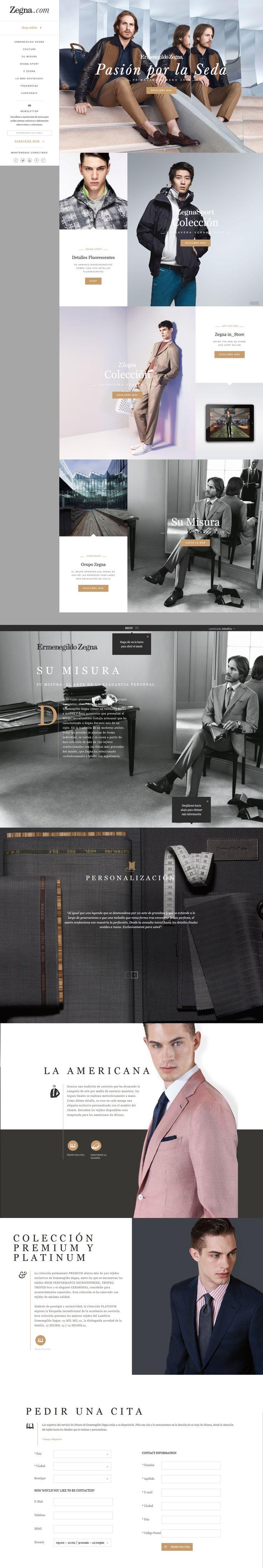 New Zegna layout. Web Graphic  Design mockup. Fashion E-Commerce.