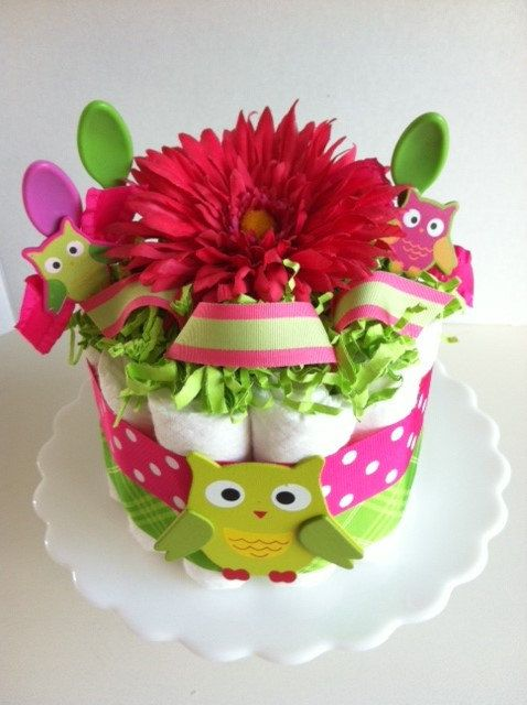Bright Pink and Lime Green Owl Mini Diaper by PooLaLaDiaperCakes