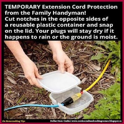 Dollar Store Crafter: Keep Your Outdoor Extension Cords From Getting Wet...