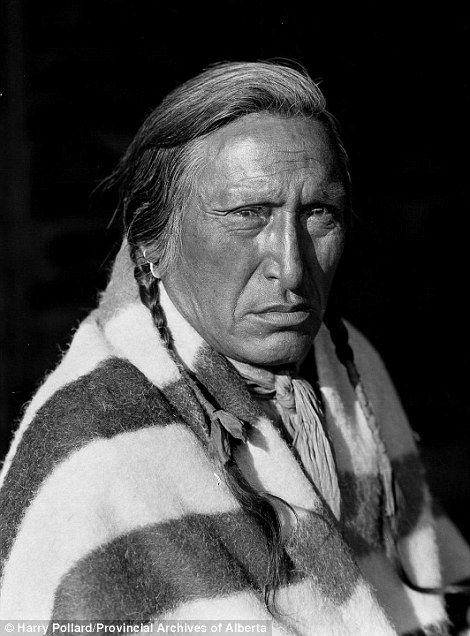 Captivating: His images at the beginning of the 20th century show the tribes on the brink of change. Pictured Spring Chief poses for a portrait