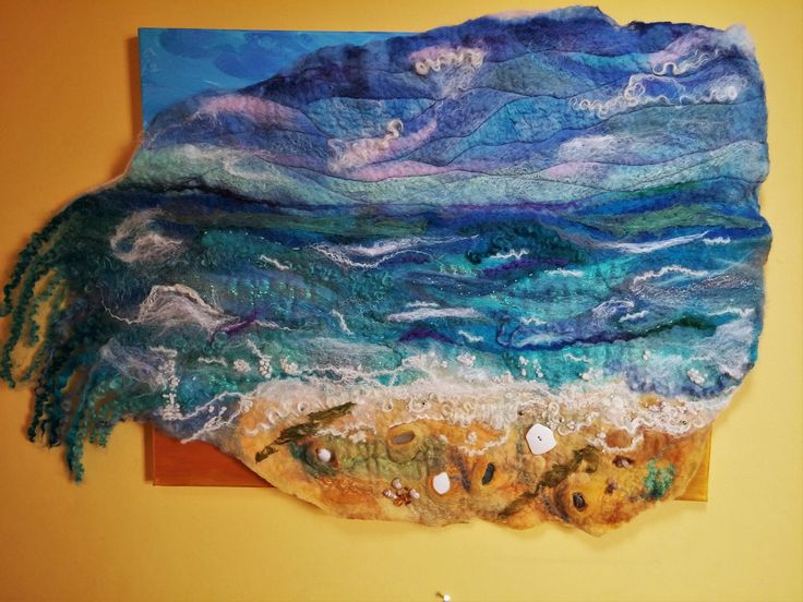 Southwold sea waves including shells, glass and beads mounted on a hand painted canvas - blythwhimsies