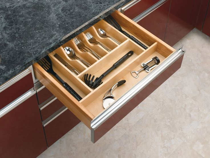 Amazon.com: Rev-A-Shelf - 4WCT-3SH - 2-3/8 in. Large Cabinet Drawer Wood Cutlery Tray Insert: Home & Kitchen