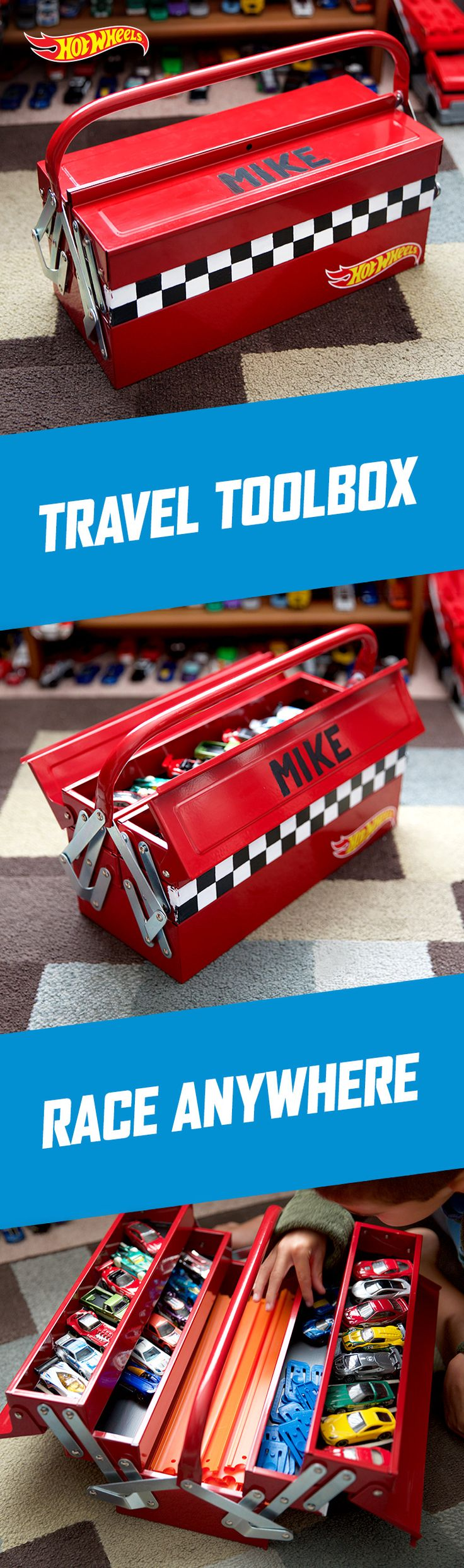 Store your kids' cars and tracks in this DIY toolbox for hours of play when you're on the go. Get Hot Wheels gear to fill this one-of-a kind organizer here.