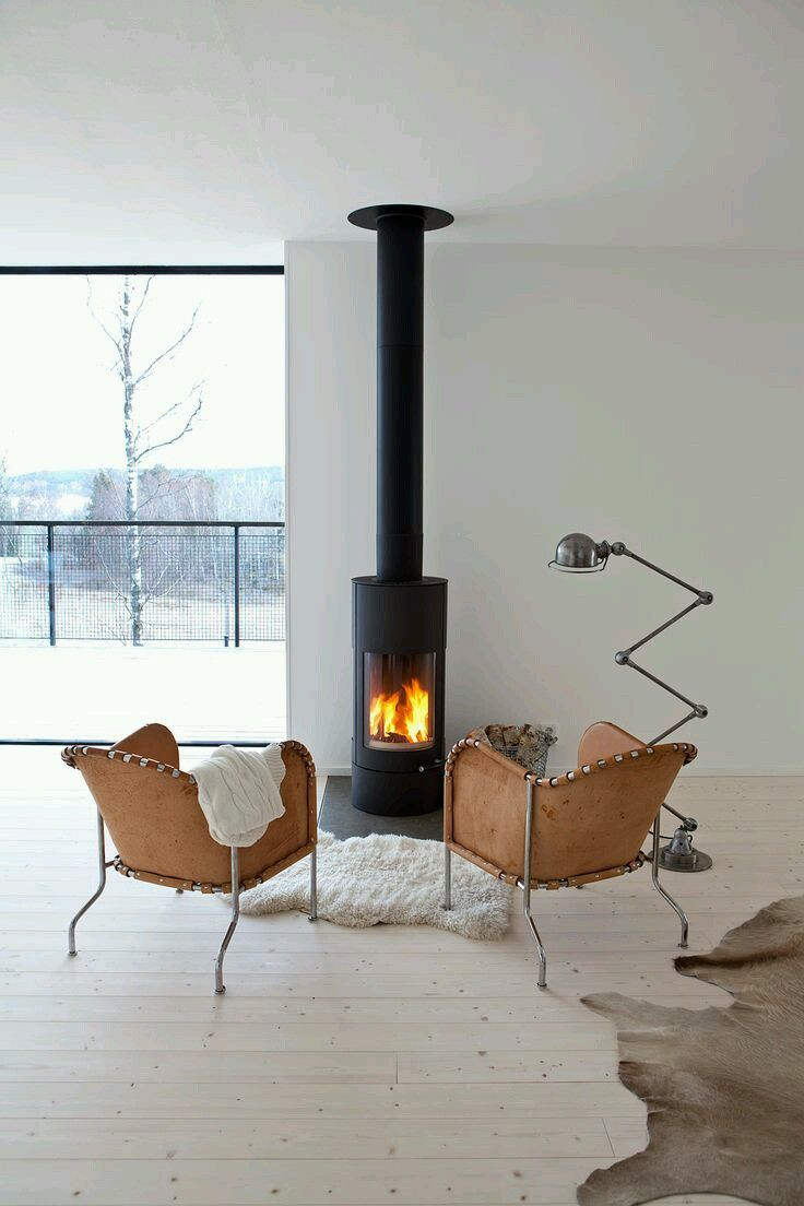 Huge Fan of the Eyropean style stoves. Having one installed after kitchen  remodel. Ours will have three sided glass panels. So Scandinavian