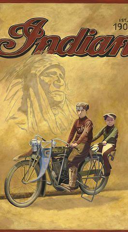vintage art, vintage paintings, chrissy mount kapp, americana, motorcycles, indian