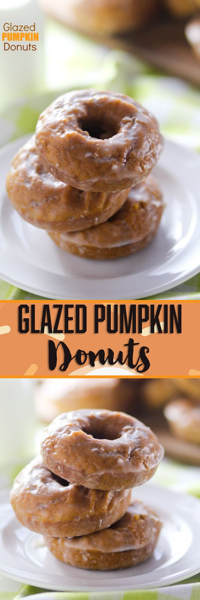 Glazed Pumpkin Donuts -- these BAKE UP (BAKE!!) in the oven in about SEVEN MINUTES!!! No crazy ingredients and totally doable for a weekday morning. LOVE!!!