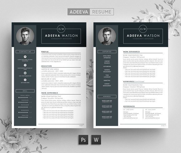 Professional Resume Template Watson by AdeevaResume on @creativemarket