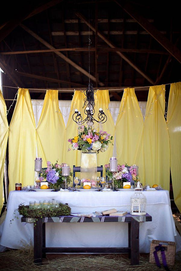 Cheap Purple Decorations For Living Room: Yellow And Purple Barn Wedding Ideas