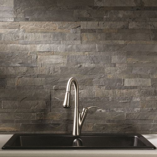 """$9.73 per square foot. Found it at Wayfair - 6"""" x 24"""" Stone Peel & Stick Tile in Iron Slate"""