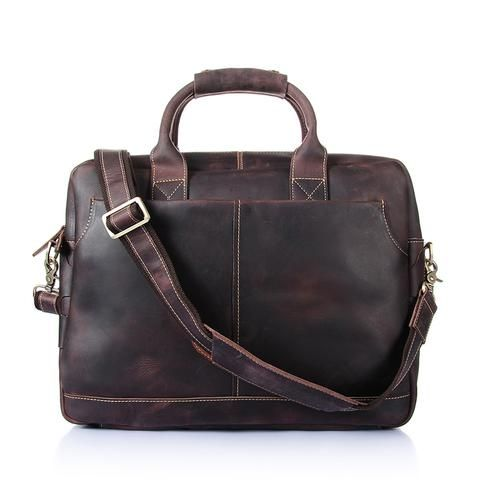ROCKCOW Vintage Men's Genuine Leather briefcase 16 inch Big Business Handbag Cowhide Laptop Handbag Briefcase...