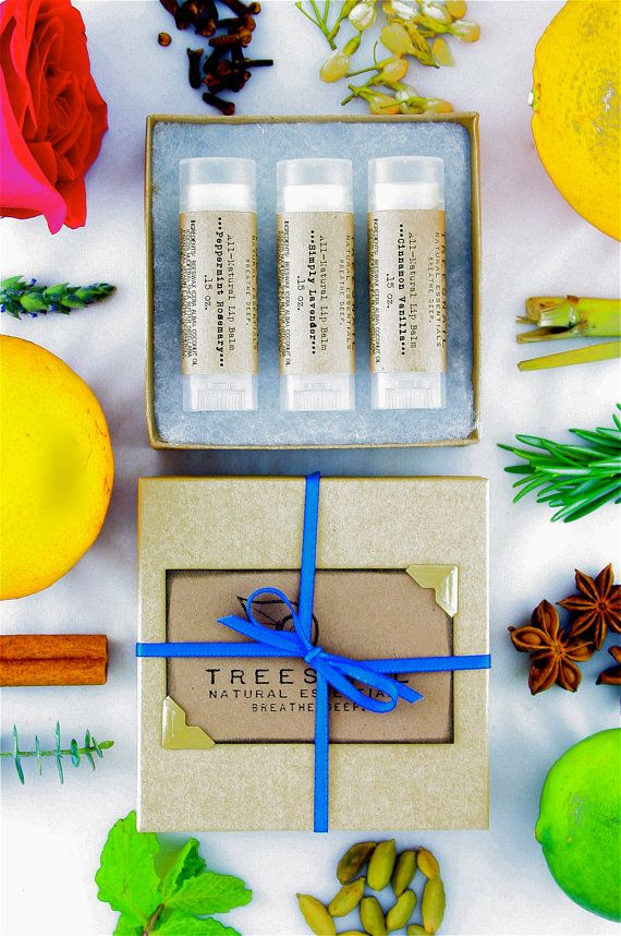 Set of 3 All-Natural Lip Balms  Gift Sets Under 15  by Treesnail