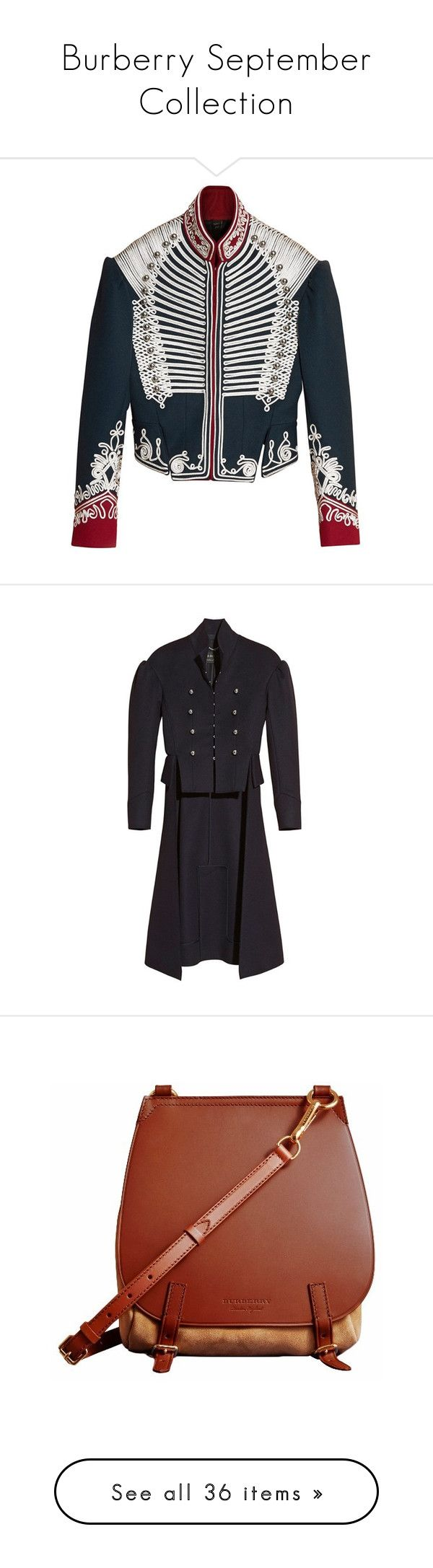 """""""Burberry September Collection"""" by burberry ❤ liked on Polyvore featuring burberry, outerwear, coats, military style coat, burberry coat, stand collar coat, military coat, bags, handbags and shoulder bags"""