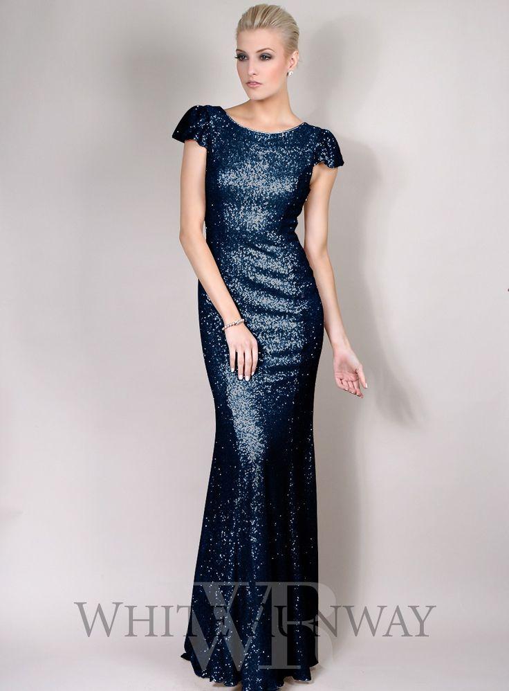 BM 2 Navy sequin Dress, Blues, blue bridesmaid dress