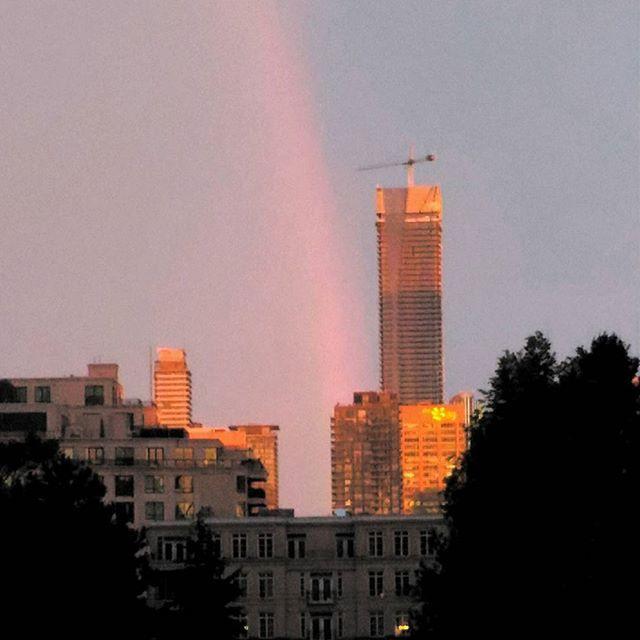 #sunset #rainbow after the #summerstorm #cityview #skyline#toronto #canada