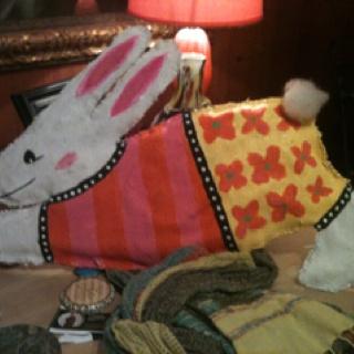 Easter Bunny Doorpiece made from Burlap