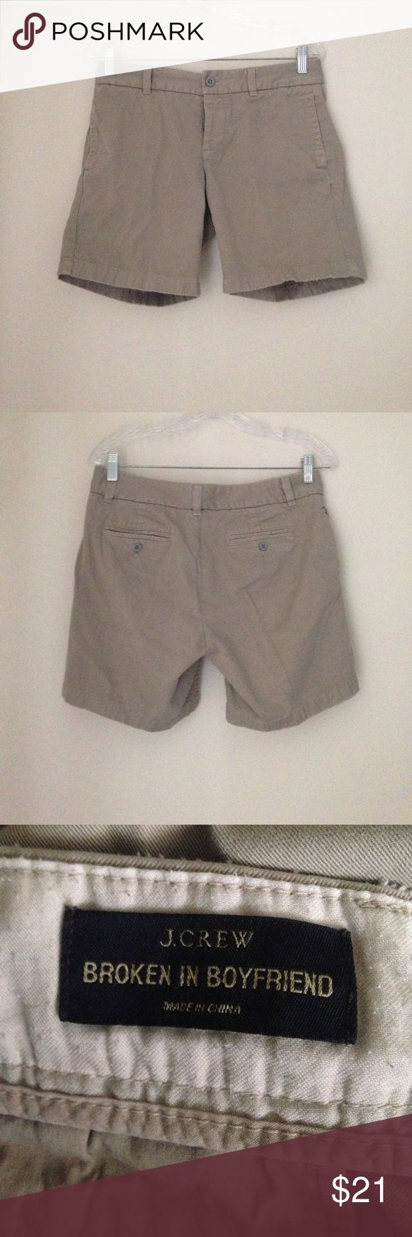 """J Crew broken in boyfriend tan chino shorts; sz 2 Designed by J.Crew. Dark tan/tan chino shorts. 15.5"""" side to side waist; 7.5"""" inseam; 9"""" rise. 10.5 inch leg opening side to side.Two inside  concealed button closure and one outer button at waist. Side concealed pockets right and left. Back envelope button pockets. Belt loops front and back. 100% cotton and soft. Made china. Women's size 2. Good condition. J. Crew Shorts"""