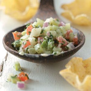 Crisp Cucumber Salsa Recipe | 1/4 C. = 16 cal. w/o chips. Not to shabby!