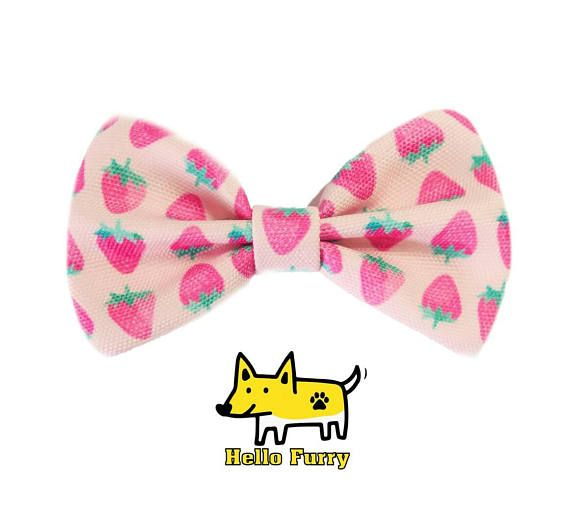 Strawberry Fruits summer Dog Bow Tie / Cat Bow Tie / Velcro Bow Tie / Collar Bow Tie /