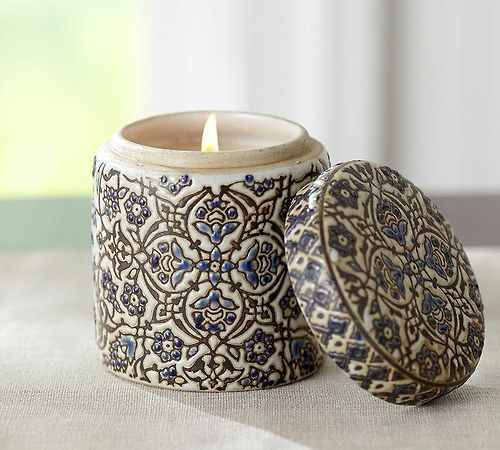 Love this blue and white floral candle