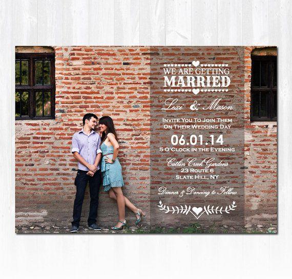 Photo Wedding Invitation DIY PRINTABLE von TreasuredMomentsCard