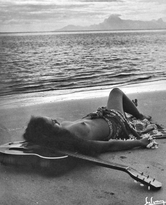 Sylvain. Tahiti. Young musician on the beach, 1930s