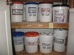 Food storage- I store pasta, rice and beans in buckets.  I love it and most of it I get for free with coupons and sales.