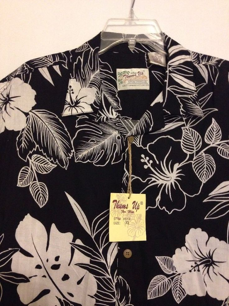 Thumbs Up For Him Sz XL SPORTSWEAR Quality Hawiian Shirts Rayon Black/White NWT #ThumbsUp #ButtonFront