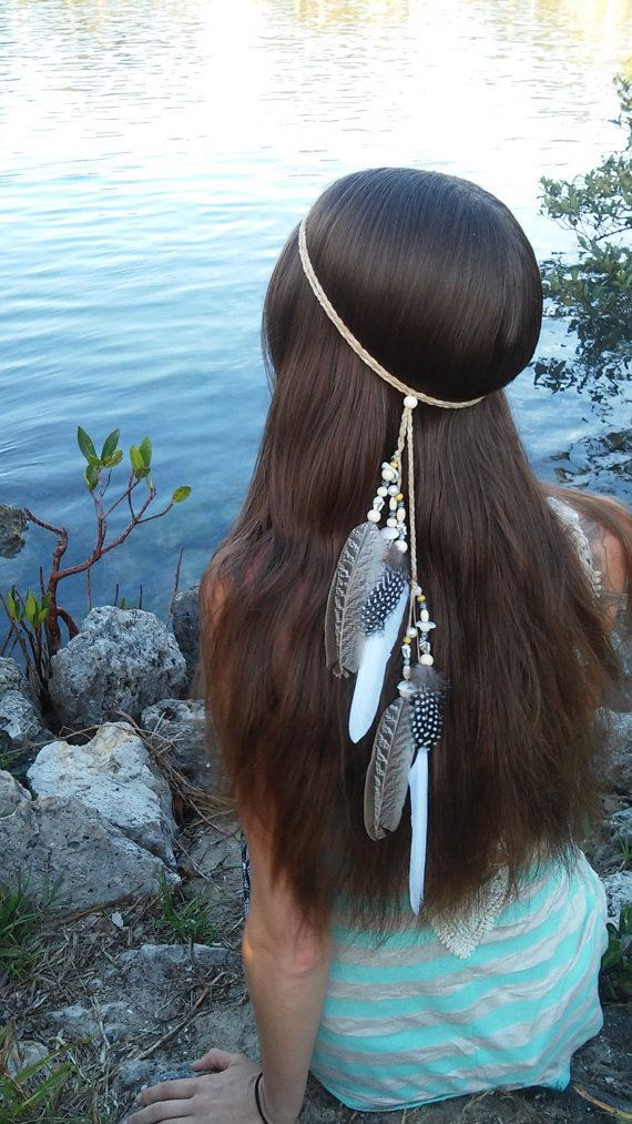 Native American, Feather HeadBand, wedding, white, feather, headband, feather headpiece, feather hair, free people, natural, beach, shell