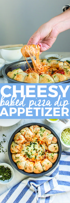 Cheesy Baked Pizza Dip Appetizer! Your favorite food transferred into the perfect game day snack!
