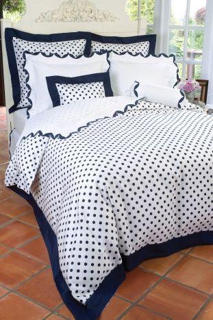 Hyannisport bedding, Schweitzer Linen. Beige with white polka dots.