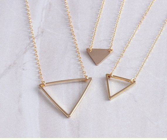 Gold Triangle Necklace / FLOATING TRIANGLE Necklace / Minimal, Delicate Necklace / Gold Triangle 14k Gold FIlled