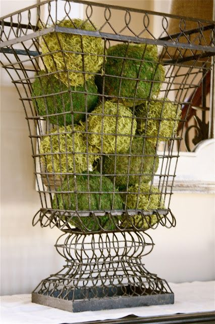 DIY for moss covered styrofoam balls. The Yellow Cape Cod: Client Project~Foyer~Before and After