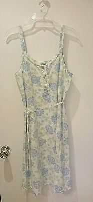 Laura Ashley Blue Flowers With Green Leaves Nightgown