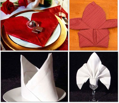 Lay a square napkin on a flat surface, then fold the two opposite edges in to meet at the center, making a rectangle. Starting at the short end, fold the napkin into 1-inch accordion pleats, stopping about 4 inches from the opposite end.