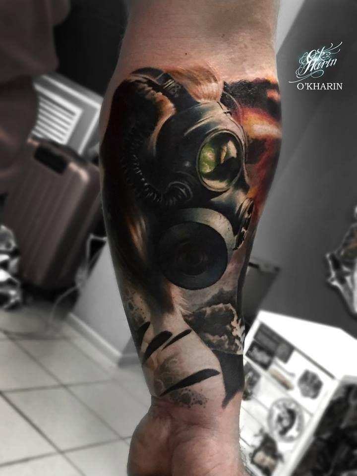 Gas Mask Tattoo by Aleksandr O'kharin