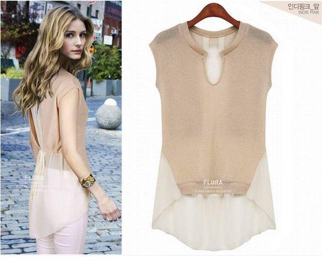 8092 2013 moda feminina verão's patchwork ocidental estilo manga blusa chiffon tops venda barato senhoras t- camisas frete grátis 7,26